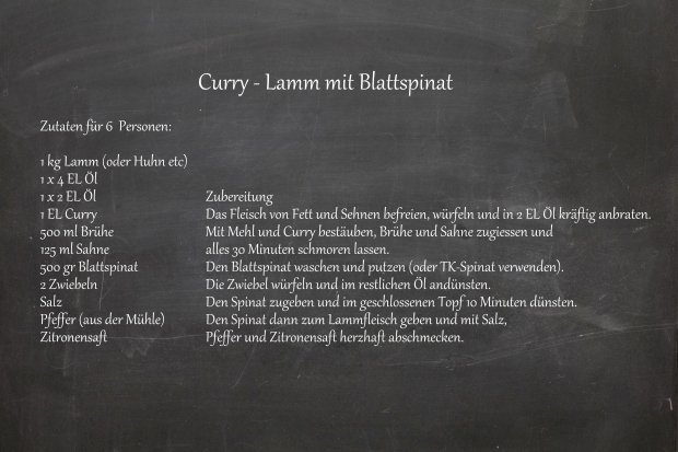 Curry - Lamm mit Blattspinat